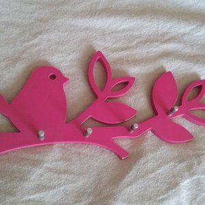 Bird Pink Closet Organizer with Metal Pegs